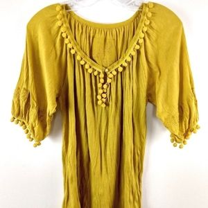 Anthropologie Top Embroidered Mustard Pom Pom Boho